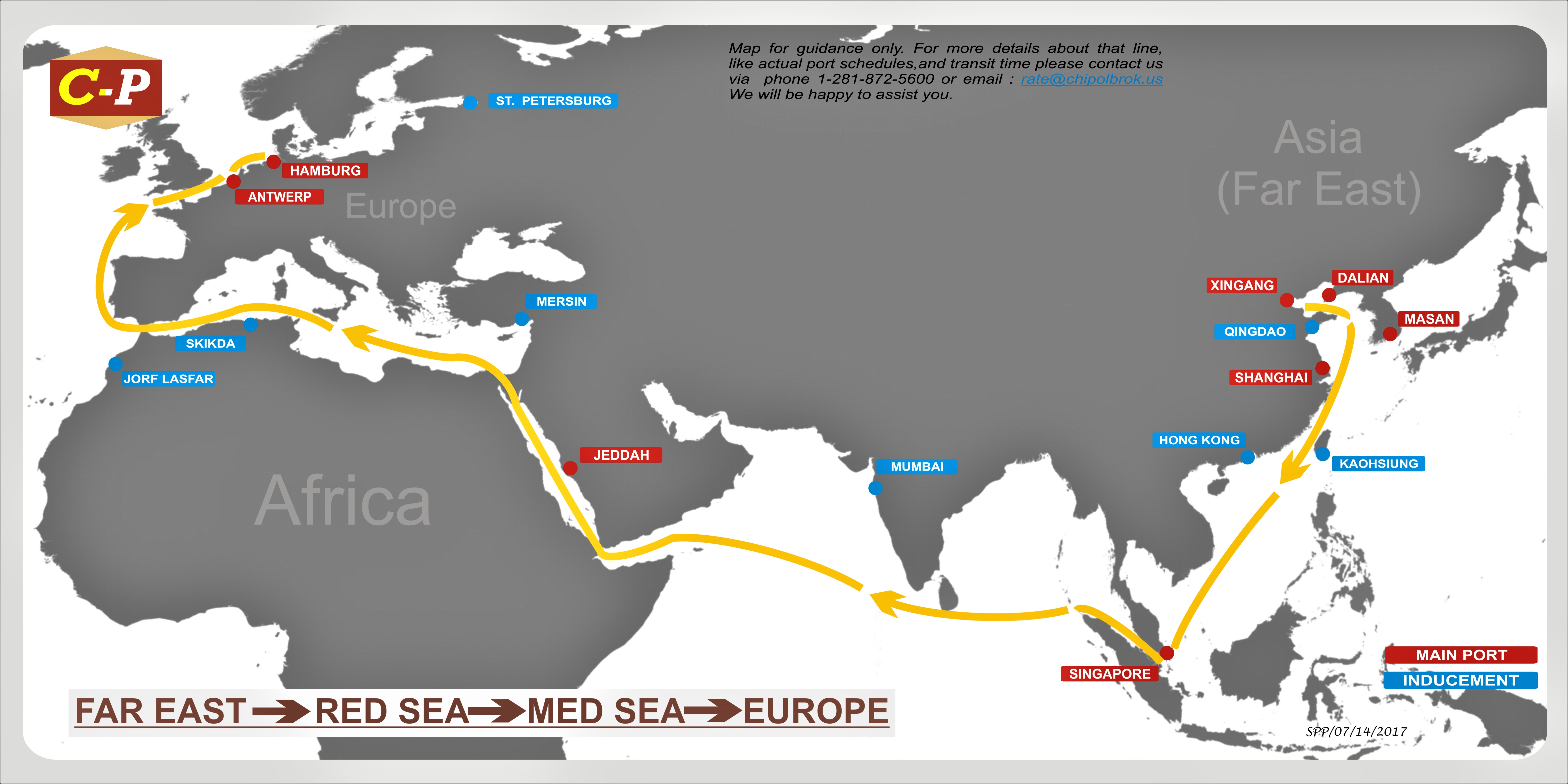 Map Of Asia Far East.Trade Lanes Chipolbrok America
